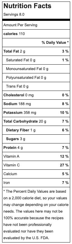 Potato & Leek Soup Nutrition